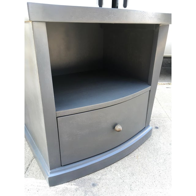 1940s Transitional Smoked Gray Mahogany Nightstands - a Pair For Sale - Image 9 of 12