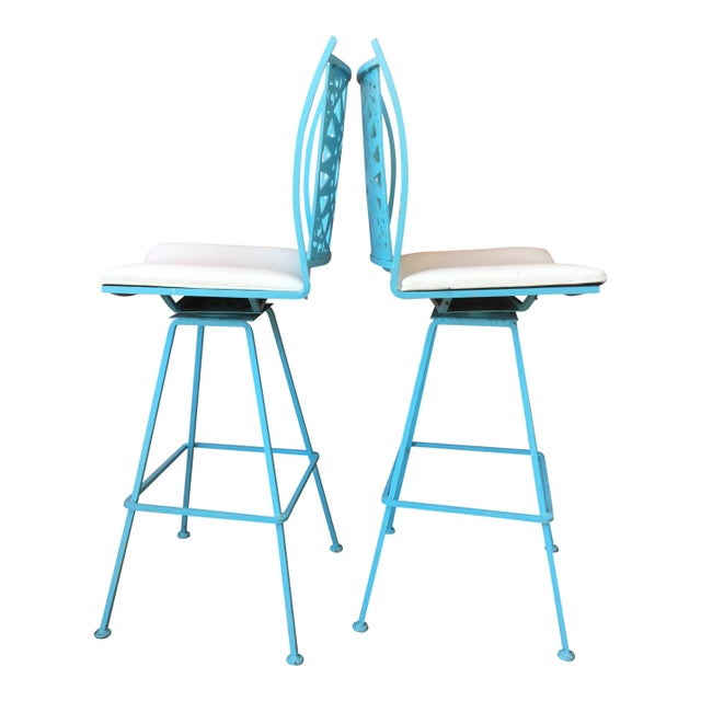 For your consideration are a great pair of Arthur Umanoff barstools a La Alexander Girard Playfully bright, these baby...