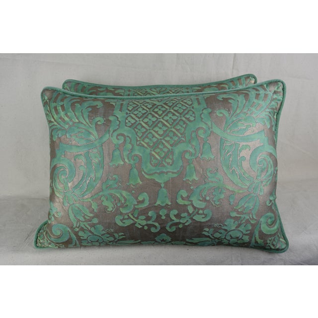 Mariano Fortuny Soft Peacock & Silvery Gold Fortuny Pillows, Pair For Sale - Image 4 of 4