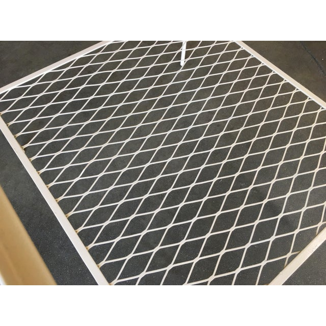 1950s Iron and Mesh Low with Glass Top Outdoor/Patio Cube Coffee Table by Woodard For Sale - Image 5 of 6