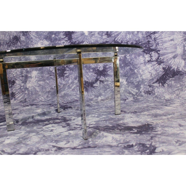 Barcelona Mid-Century Modern Round Glass Top Coffee Table - Image 6 of 7