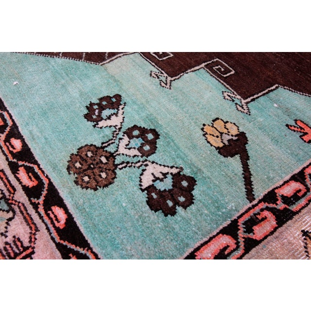 Sky Blue 1980s Vintage Handmade Double-Knotted Turkish Rug - 9' 6'' X 5' 11'' For Sale - Image 8 of 13