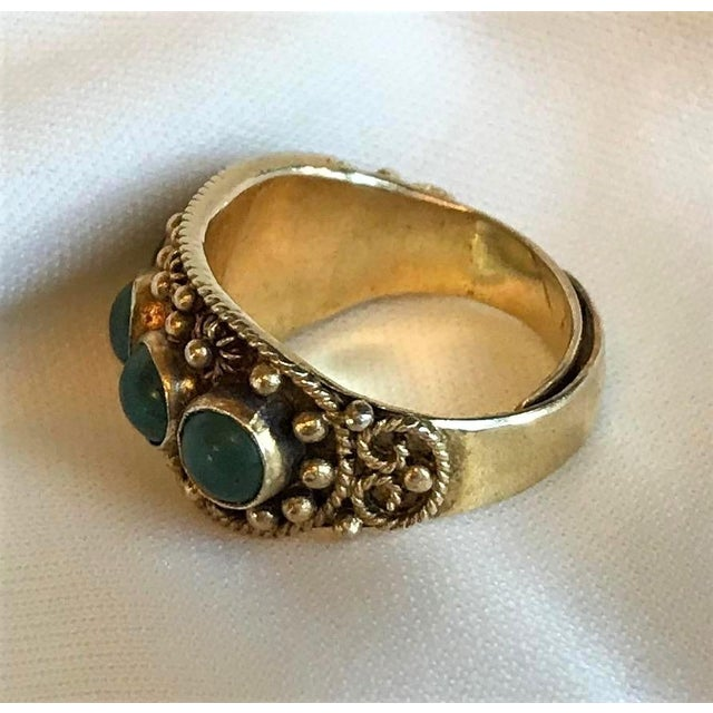 Asian Chinese Gold-Plated Sterling and Jade Ring For Sale - Image 3 of 8