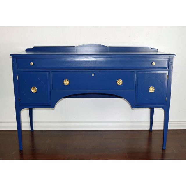 Antique Cherrywood Navy Blue Buffet For Sale - Image 12 of 12