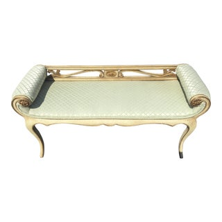 Antique Italian Gold Gilt Upholstered Bench Settee For Sale