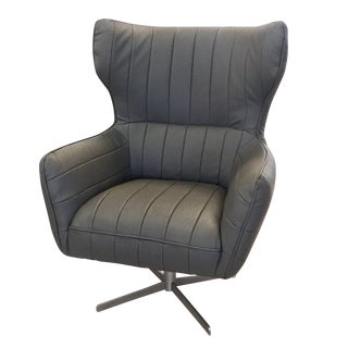 20th Century Modern Grey Microfiber Leather Swivel Chair