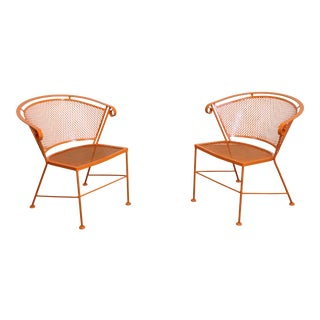 Pair of Mid-Century Modern Atomic Orange Outdoor Metal Curved Back Chairs For Sale