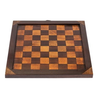 19th Century Antique Inlaid Wood Checkerboard For Sale