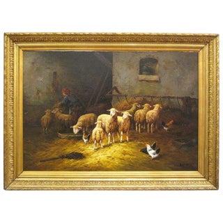 19th C. Barn Scene Oil Painting