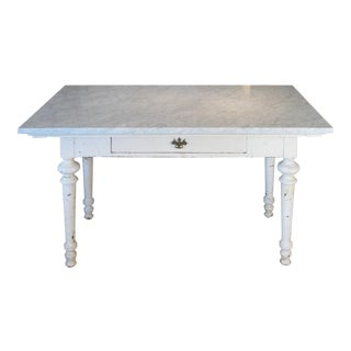 Antique 19th Century Refectory Table With Venatino Marble Top For Sale