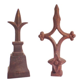 Antique Cast Iron Finials- Set of 2