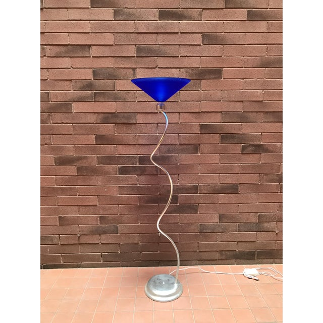 1980's 80's Postmodern Memphis Style Metal and Glass Wavy Floor Lamp For Sale - Image 4 of 4