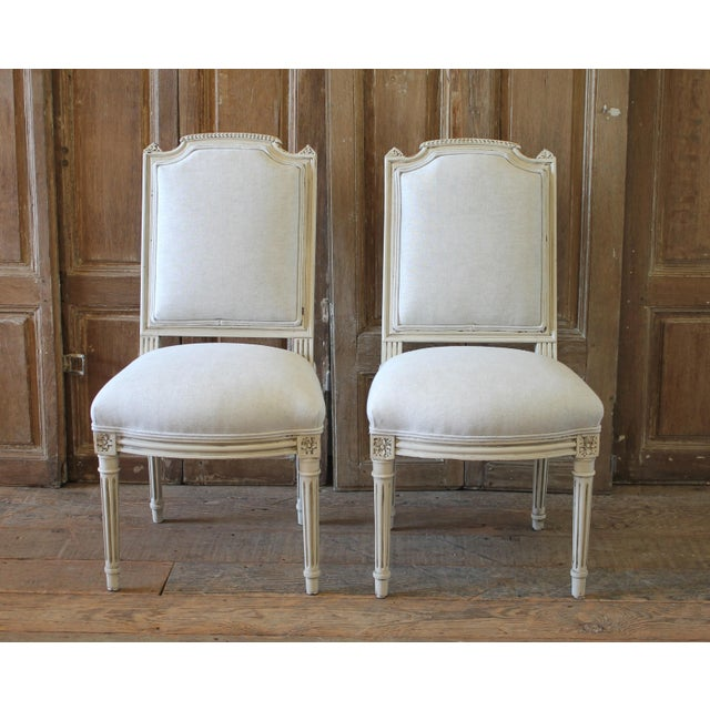 Early 20th Century Louis XVI Style Painted and Upholstered Childs Chairs - a Pair For Sale - Image 13 of 13