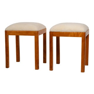 German Art Deco Stools With Shearling Seats - a Pair For Sale