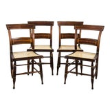 Image of Late 19th Century American Cafe Style Walnut and Caned Dining Chairs - Set of 4 For Sale