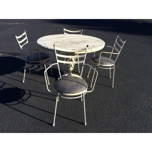 Marble top iron patio table chairs chairish marble top iron patio table chairs for sale image 10 of 11 watchthetrailerfo