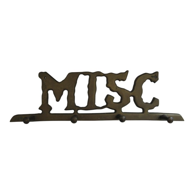 """Vintage Brass """"Misc"""" Wall Hook For Sale"""