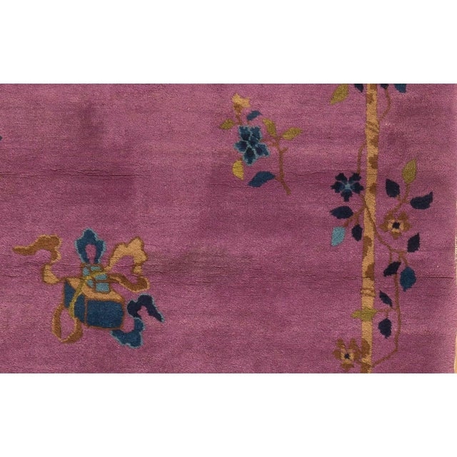 1920s Vintage Chinese Art Deco Square Rug - 3′11″ × 4′2″ For Sale - Image 4 of 5