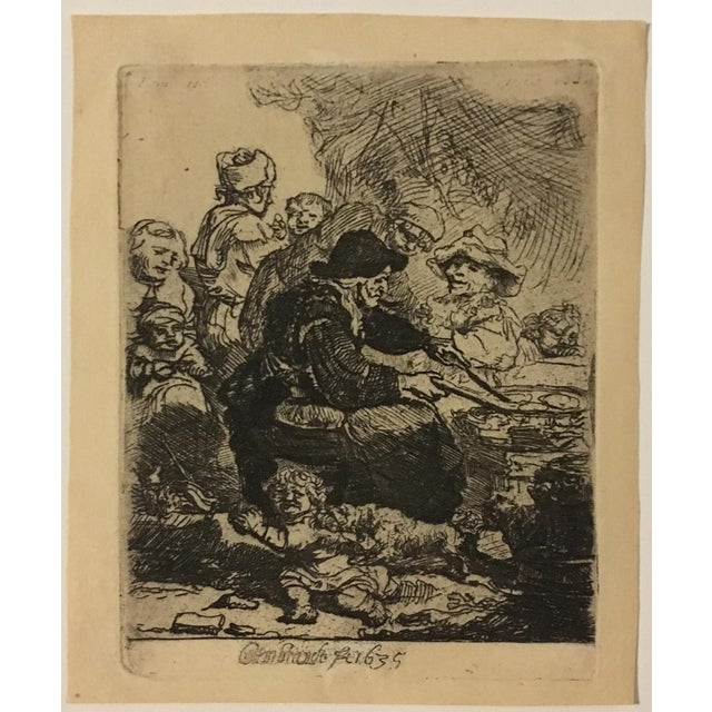 "Rembrandt ""The Pancake Woman"" Original Etching - Image 3 of 9"