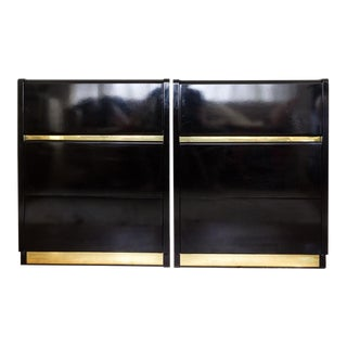 Lane Black Lacquer Dresser Set With Brass Bands Nightstands- A Pair For Sale