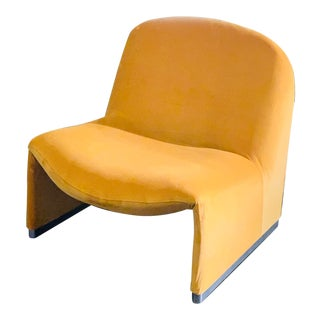 "1970s Giancarlo Piretti ""Alky"" Chair in Goldenrod Velvet For Sale"