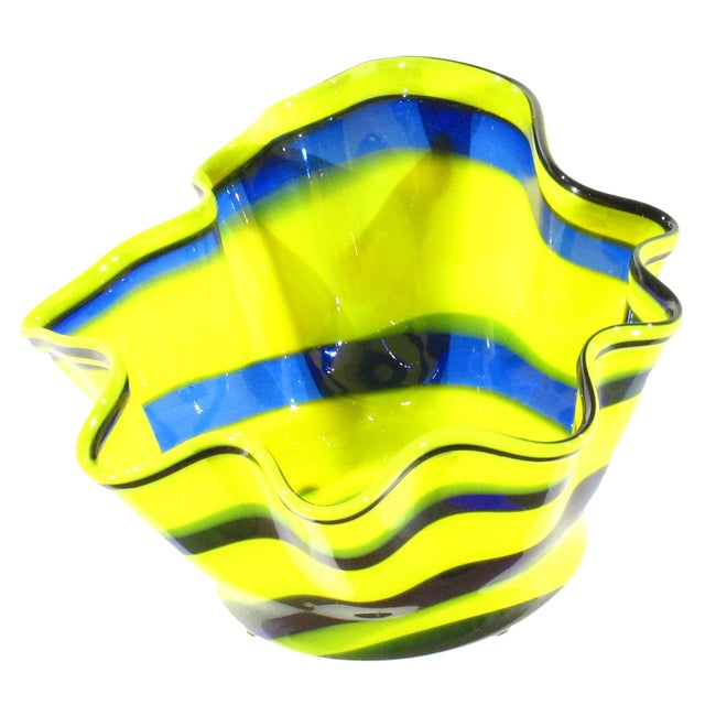 Glass Pasargad N Y Multi Colored Handkerchief Shaped Blended Glaze Bowl For Sale - Image 7 of 8