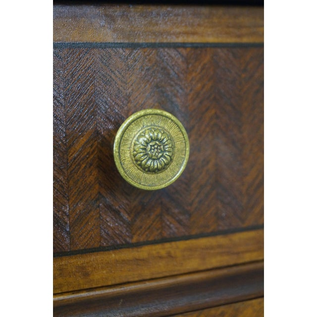 Antique 1920s Demilune Inlaid Walnut Louis XVI Style Chest of Drawers - Image 8 of 10