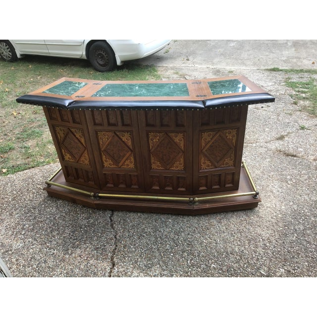 Chinoiserie Vintage Carved Chinese Oriental Style Folding Expandable Bar Cabinet For Sale - Image 3 of 12