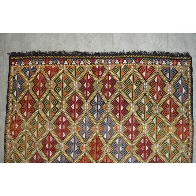 1950s Vintage Turkish Kilim Rug Hand Woven Braided Jajim Rug - 66″ X 116″ For Sale - Image 5 of 10