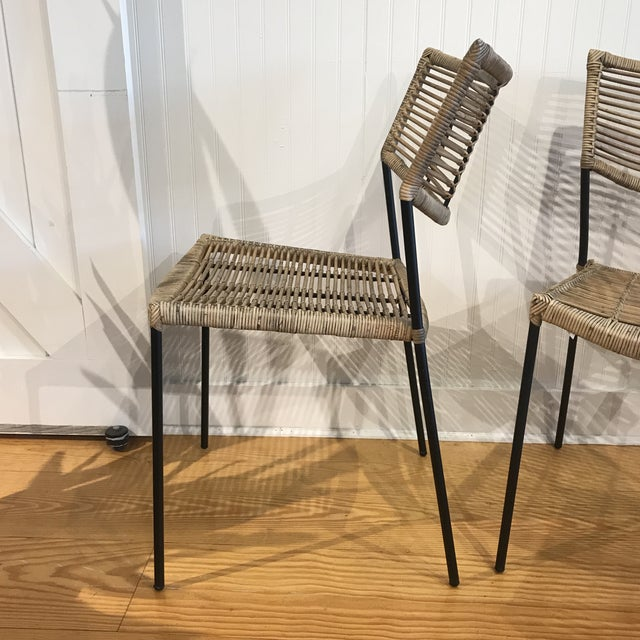 Modern Rattan and Wrought Iron Dining Side Chairs- 2 Left For Sale In New York - Image 6 of 11