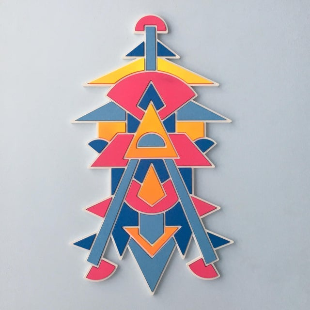 Contemporary Pink Blue & Orange Artist Proof Puzzle by Chad Wentzel Made For Sale In Detroit - Image 6 of 6