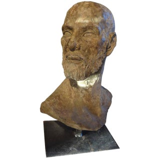 1940s Italian Greco Roman Style Terra Cotta Bust Sculpture For Sale