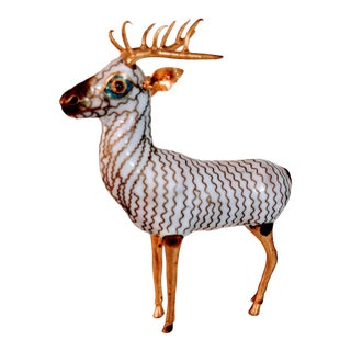 Vintage Cloisonne Enamel Deer Figure Bronzed Bronze White Chinese For Sale