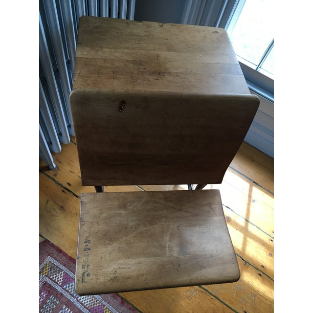 Vintage School Desk & Bench Chair For Sale In New York - Image 6 of 7