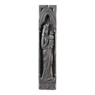 Gothic Victorian Wood Carving of Madonna and Child For Sale