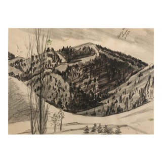 Mid-Century Painting of Mount Baldy in Sun Valley, Idaho For Sale