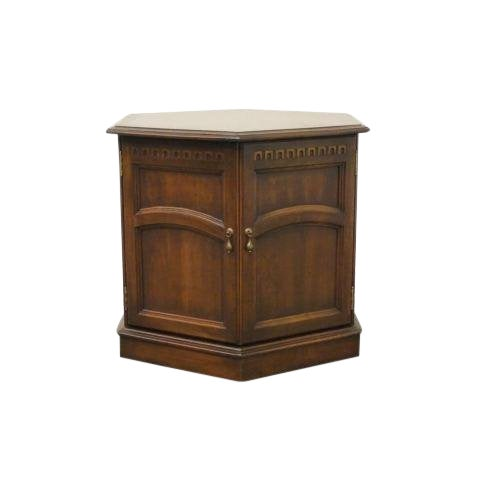 20th Century British Colonial Kling Solid Cherry Hexagonal Storage End Table For Sale