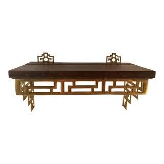 Vintage Asian Inspired Brass & Wood Shelf