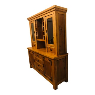 Rustic Mountain Lodge Buffet & Hutch With 4-Draw For Sale