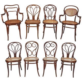 Collection of Eight Viennese Secessionist Dining Chairs Thonet, Mundus, J&j Kohn For Sale