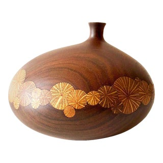 Roger Sloan Walnut Weed Pot Thin Edge Inlaid Vase For Sale