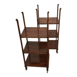 Matched 3 Shelf Etagere Carved Display - a Pair