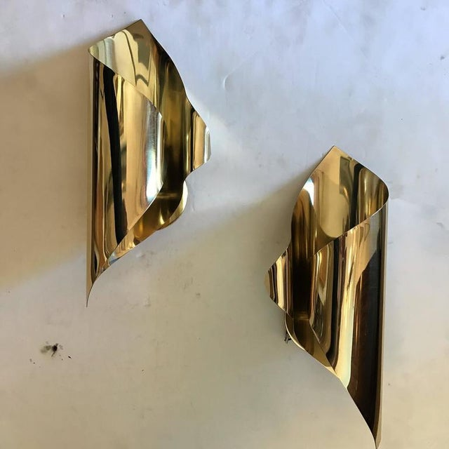 Mid-Century Modern 1970s Mid-Century Modern Charles et Fils Brass Wall Lights - a Pair For Sale - Image 3 of 6