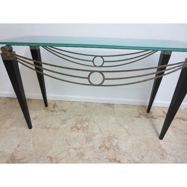 Neo Classical Metal Draped Federal Sofa Hall Foyer Table Server Console For Sale - Image 4 of 11