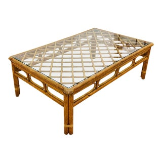 Vintage Rattan & Glass Coffee Table For Sale