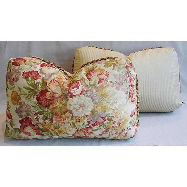 "24"" x 15"" Custom Tailored English Floral Linen Feather/Down Pillows - Pair - Image 7 of 11"