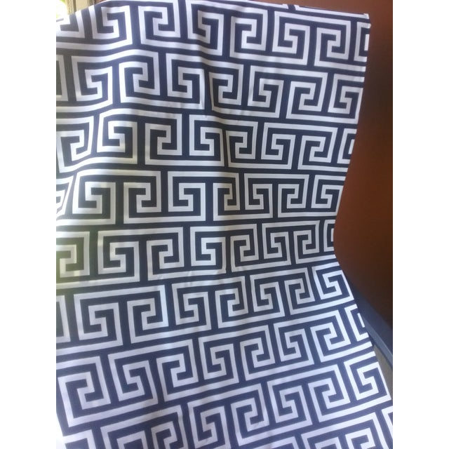Chinoiserie Jonathan Adler Inspired Ink Blue Navy and White Decorator Fabric For Sale - Image 4 of 10