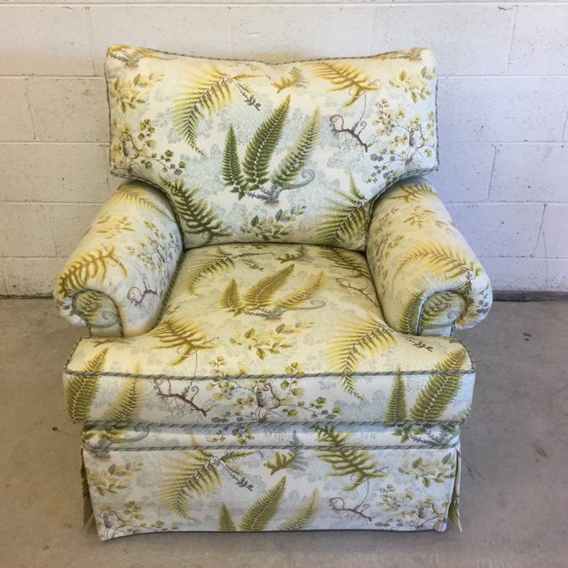 Oversized Rocking Club Chair in Fern Upholstery For Sale - Image 11 of 11