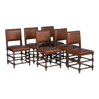 19th Century Antique Barley Twist Dining Chairs- Set of 6 For Sale