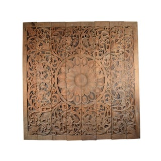 Vintage Carved Teak Mandala Wall Sculpture For Sale